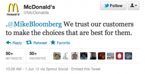 McDonald's slaps Mayor Bloomberg