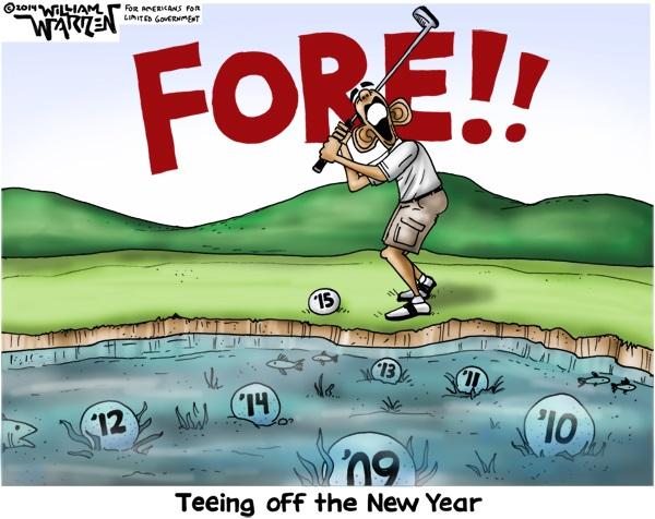 Cartoon - Teeing off the New Year - 600