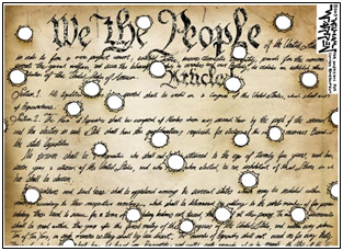 constitution with bullet holes