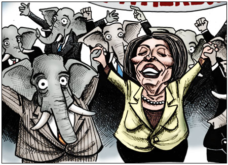 pelosi with elephants